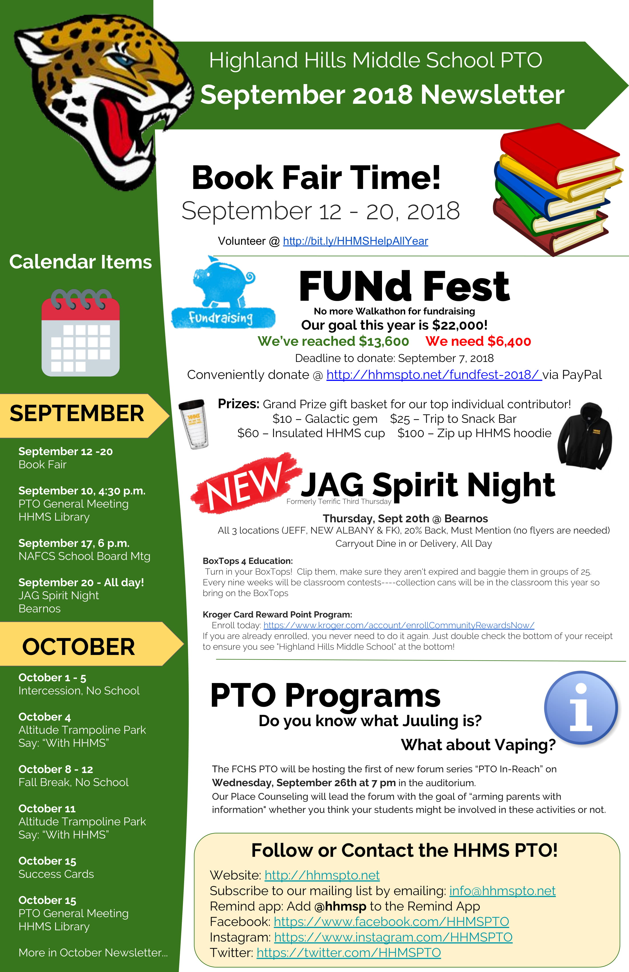 pto newsletter highland hills middle school pto